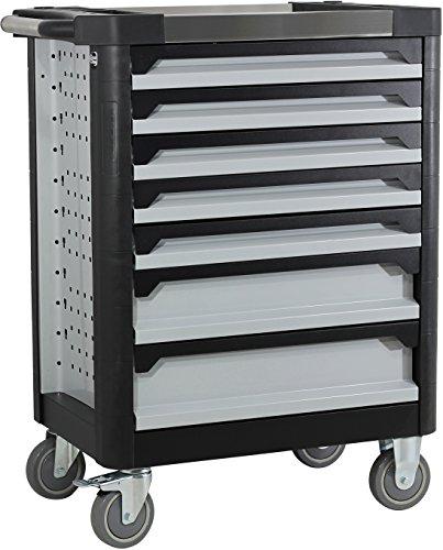 Ultra Edition Werkstattwagen | 7 Schubladen - 5 gefüllt mit Handwerkzeug | Werkzeugwagen abschließbar + COB Akku Arbeitsleuchte - 3