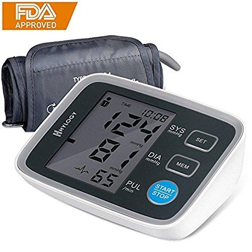 Digitaler Oberarm-Blutdruckmessgerät, Hology Vollautomatisches professionelles Blutdruckmessgerät und Pulsmessung, Arrhythmie-Erkennung, Standard-Manschette (22 cm - 42 cm), LCD-Großbildanzeige und 2 Benutzermodus 2 * 90 Speicher