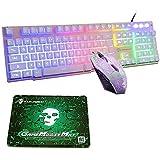 UrChoiceLtd Meyyying T6 tęczowa podświetlana klawiatura multimedialna USB do gier + 2400 DPI, 6 przycisków optycznych, tęcza