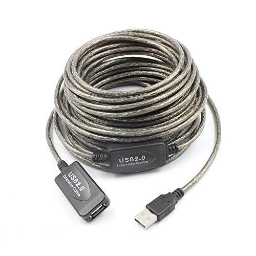 Preisvergleich Produktbild Huihuiya USB2.0 Verlängerungskabel Drahtlose Netzwerkkarte Erweiterte Kabellinie mit Chip-Schwarz & Grau (15M)