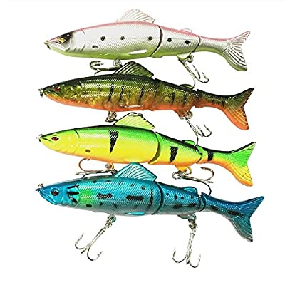 Bestok Fishing Lures Sea Bait Fishing Tackle with Sharp Treble Hook Bass Pike Shad Trout Spinners Minnow Crank Baits by Bestok