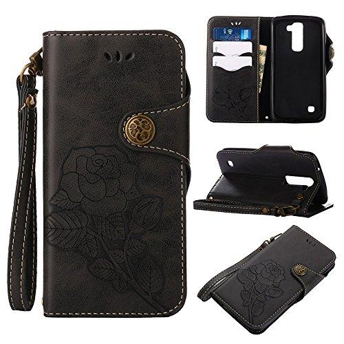 YHUISEN LG K7 case, Luxus Retro Rose Premium PU Leder Magnetverschluss Flip Wallet Schutzhülle mit Lanyard für LG K7 / LG Tribut 5 ( Color : Pink ) Black