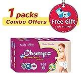 #7: Champs High Absorbent Premium Pant Style Diaper (Pack of 1)(Free 1-Pair Socks)| Premium Pant Diapers | Premium Diapers | Premium Baby Diapers | anti-rash and anti-bacterial diaper | … (X-Large, 46)