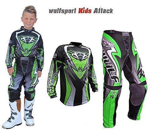 Atv Jersey (Wulfsport WSX-4 Kinder Hosen Kinder Jersey / Hemd MX ATV / Quad-Motocross-Rennkleidung Alle Farben (8-10 Jahre, Grün))