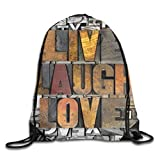 Live Laugh Love Duvet Cover Set Romantic Ornate Poster Design With An Inspirational Saying,Violet Blue White Yellow_2Gym Bag