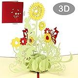 Blizim 3D Karte Pop-up Grußkarte mit Sonnenblume Geburtstag das Erntedankfest
