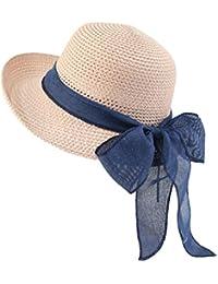 Donne Cappello da Sole Estate Pieghevole Floscio Cappello da Sole Cappello  della Spiaggia Cappello della Paglia Berretto… 7d3b69d75486