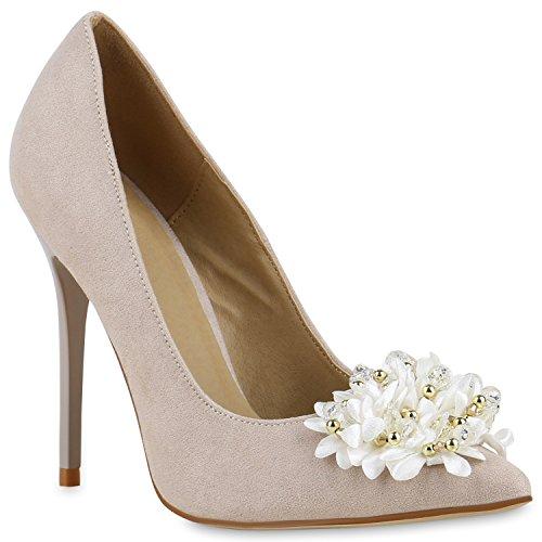 Spitze Damen Pumps High Heels Stilettos Lack Party Schuhe 129723 Creme Blumen Perlen 39 | Flandell (Hochzeit Perlen Heels)