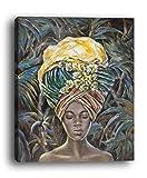 Wowdecor Art Wand Moderne Leinwand Prints Gemälde–Afrikanisches Mädchen Giclée-Bilder auf Leinwand Gedruckt, Wanddekoration für Home Wohnzimmer Schlafzimmer–Gerahmt, Large