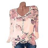 DEELIN Damen Langarm beiläufiges mit Blumen Bedrucktes Knopf-T-Shirt Chiffon- unregelmäßige Rand-Spitzen-Bluse