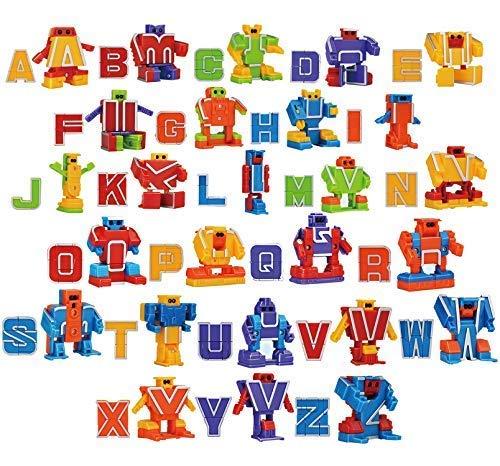 JOYIN 26 Stück Alphabet Roboter Buchstaben Transformer Spielzeug für Kinder ABC Lernen, Geburtstagsgeschek Klassenzimmer Belohnungen, Karnevalpreise, Vorschulerziehung Spielzeug, Ostern Korb Stuffers