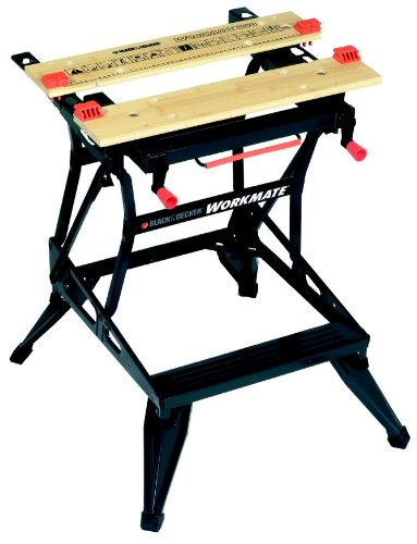 Black+Decker flexible Werkbank (mit großer Arbeitsfläche, Höhenverstellbar und einfach handzuhaben, Bis 160 kg belastbar, Maße (Arbeitsfläche): 250 x 610 mm) WM550