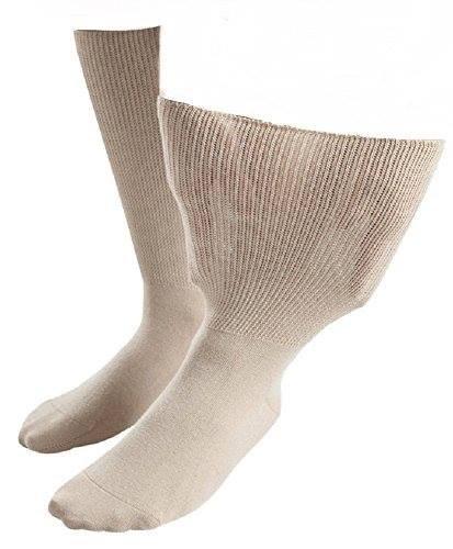 Sock Shop iomi Footnurse - Herren & Damen Unisex Extra Breit Ödeme Socken in 4 Größen & 5 Farben (45-50 eur, Beige) (Breite Füße Socken)