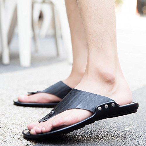 Da Lantidérapage Pelle Marroni Casual Sandali In Estiva Uomini Da Uomo Infradito Gli Pantofole Spiaggia O0SP1awqa