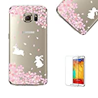 For Samsung Galaxy S6 Edge Case Cover with Free Screen Protector, Funyye Extreme Lightweight Transparent Clear Soft TPU Gel Case Silicone Rubber Anti Cover with Beautiful Lovely oriental cherry sakura Flower Pattern Printing for Samsung Galaxy S6 Edge Plu