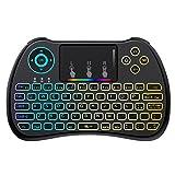 [Layout ITALIANO]Mini Tastiera Retroilluminata, QPAU 2.4Ghz Mini Tastiera Senza Fili Wireless con Touchpad per PC, Pad, Android/Google TV Box, PS3, Xbox 360, HTPC, IPTV immagine