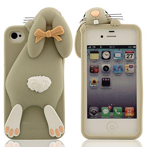 Karikatur Stil 3D Hase Modellieren Silikon Hülle Handy Tasche Schutzhülle für iPhone 4 / iPhone 4S / iPhone 4G, Bunt Weiche & Elastic Prämie Silikon Cover Case Grau