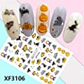 Quaan 6 Color Horror Design Halloween 3D Nail Art Stickers Manicure Adhesive Transfer Decals