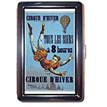 Circus Balloon Acrobat Very Early Retro Poster Stainless Steel ID or Cigarettes Case (King Size or 100mm) by Coastal Colors