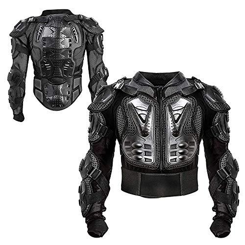 PKFG® Motorrad Schutz Jacke Schwarz Herren, AM-05 Motocross Motorradjacke mit Rücken und Brustschutz Fallschutz Schutzjacke für Motorrad ATV Mountain Radfahren Scooter MTB Protektorenjacke