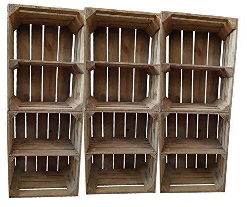 6er SET Vintage / used Holzkisten Apfelkisten Obstkisten mit Zwischenbrett quer 50x40x30cm | Ideal als Garagenregal rustikal Wandregal Aufbewahrungsbehälter Aufbewahrungsbox Holzregal Shabby Chic - Regal Teiler Set