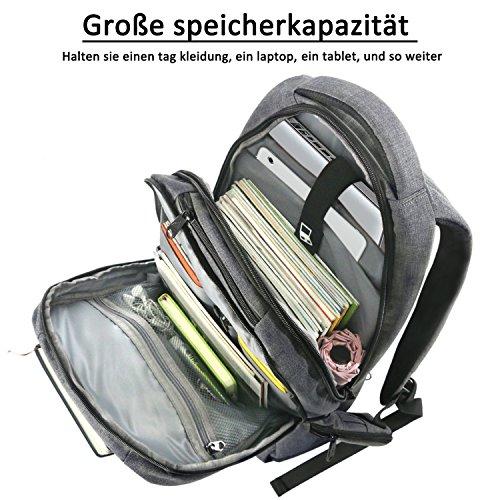 Norsens Computer Rucksack mit Fchern fr bis zu 156 Zoll Laptops NotebookSlim Rucksack dunkelgrau Ruckscke