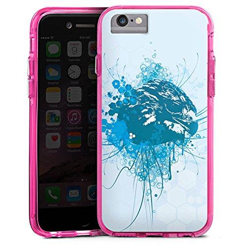 Apple iPhone 6s Bumper Hülle Bumper Case Glitzer Hülle Eagle Adler Greif Bumper Case transparent pink