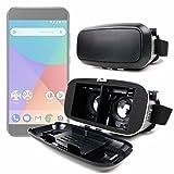 DURAGADGET Gafas de Realidad Virtual VR ajustables en color negro para Smarphones Smartphone Xiaomi Mi A1 + gamuza limpiadora.