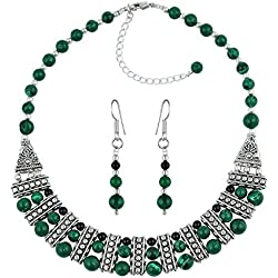 Pearlz Ocean Laurel Black Agate & Malachite Gemstone Beads Designer Two- Piece Necklace Set