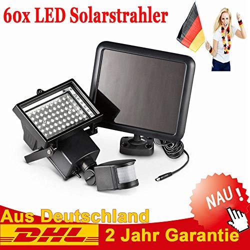 60 LED Solarleuchte Solarlampe AuBen Leuchte Solarstrahler Bewegungsmelder Sensorlicht Wandleuchte, Energiesparende Wasserdichte Sensor-Licht fur Garten Deck, Hof, Flur, Veranda Lamp -