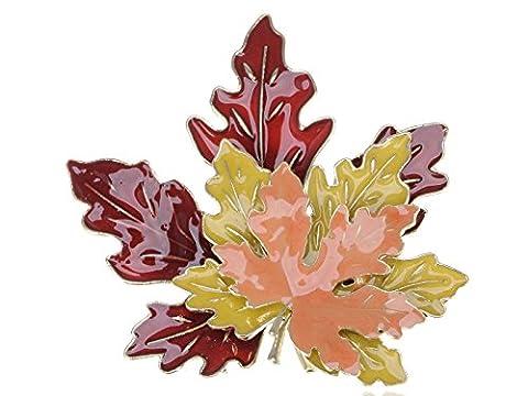 Alilang Golden Tone Metal Red Yellow Orange Enamel Maple Leaf Fashion Pin Brooch