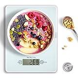 HAMSWAN Báscula Digital de Cocina, Balanza Electrónica de Alimentos Multifuncional en Vidrio, 5kg / 11 lbs Fácil de Limpiar Incluyendo Pila de Botón, Smart Weigh Ultradelgada, Peso de Cocina