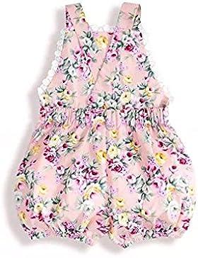 Gugutogo Cotton Floral Suspender Shorts mit Spitzennähten und elastischer Taille für Mädchen (Farbe: pink) (Größe...