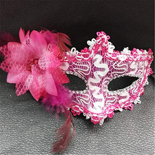 mädchen Kind Maskerade Party Halloween Maske Prinzessin Erwachsene romantische Spitze Feder Maske (mehrere farbstile optional) f 22cm x 12cm ()