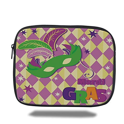 air 2/3/4/mini 9.7 inch,Mardi Gras,Checkered Pattern with Stars Graphic Mask Harlequin Festival Composition Decorative,Pink Yellow Green,3D Print ()