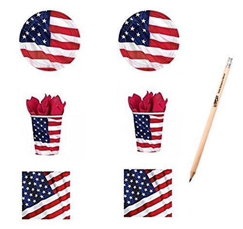 Irpot - kit n 2 coordinato u.s.a.bandiera americana set stoviglie festa compleanno party