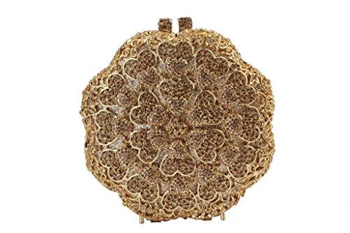 Yilongsheng ronde Fleurs Fête Sacs avec Bright Crystal pour les dames or