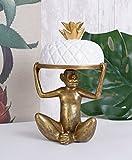Kuchenglocke Monkey Muffinplatte Affe Affenfigur Kuchenplatte Weiss Gold Palazzo Exklusiv