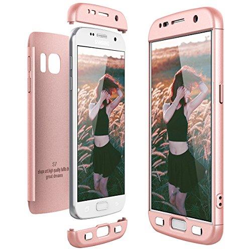 CE-Link für Samsung Galaxy S7 Hülle Hardcase 3 in 1 Handyhülle 360 Grad Full Body Schutz Schutzhülle Anti-Kratzer Bumper - Rosegold - Links Hand Rose