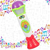 Twister.CK Kids Microphone Voice Toy, Toddler Music Toys Microphone - Record Baby Babil Rattle Playback avec Jouet de Noël Musical coloré karaoké de lumière (Vert)