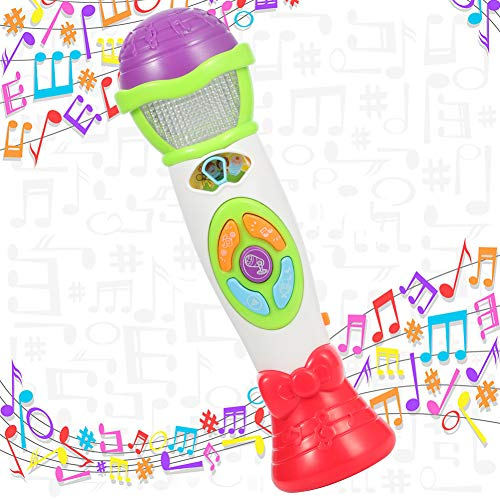 Twister.CK Kinder Voice Recorder Changer, Mikrofon 8 Musik Song Melodie 4 Ton Pitch Modus Singen Tanz Geschenk, Wiedergabe mit Buntem Licht Musical Karaoke Weihnachten Spielzeug (grün)