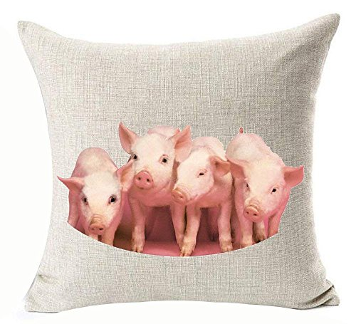 hat pillow Cute Animal Pink Pet Mini Lovely Pigs Cotton Linen Decorative Throw Case Cushion Cover Square 18