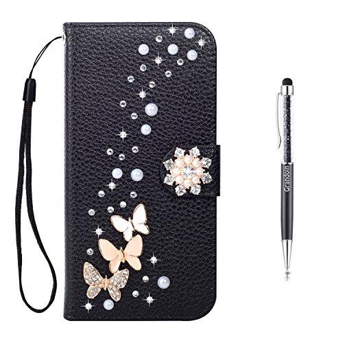 Galaxy S8 Plus Hülle,Grandoin® Bling Diamant Schmetterling Handyhülle im Brieftasche-Stil für Samsung Galaxy S8 Plus Handytasche PU Leder Flip Cover Book Case Schutzhülle mit [aktualisierter TPU Innen Schwarz