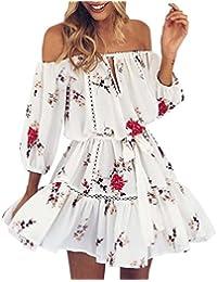 Vestidos Hombro Descubierto Mujer LHWY, Vestidos De Playa Con Estampado De Floral Vestidos Suelto Con
