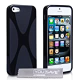 Yousave Accessories® x-ligne Schutzhülle aus Silikongel für iPhone 5schwarz