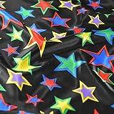Schwarz Happy und Bright farbigen Innen Star Satin Stoff