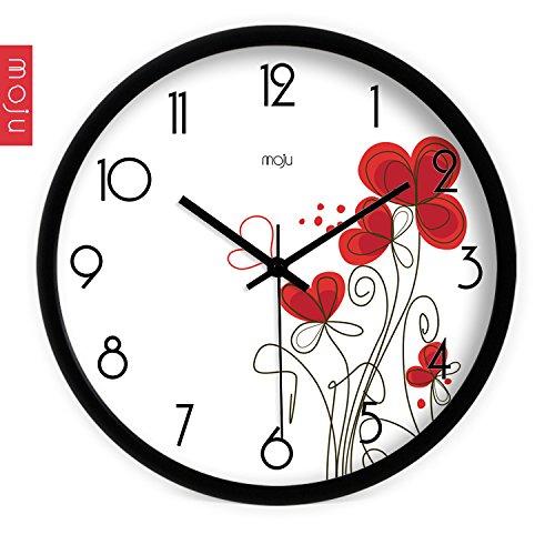 tickgeräusche,wanduhr groß.Kreative Kunst Mode einfache romantische kleine rote Blume Wohnzimmer Mute Wanduhr Quarzuhr Wanduhr, 12 Zoll, 14 Zoll Metalldraht Zeichnung ()