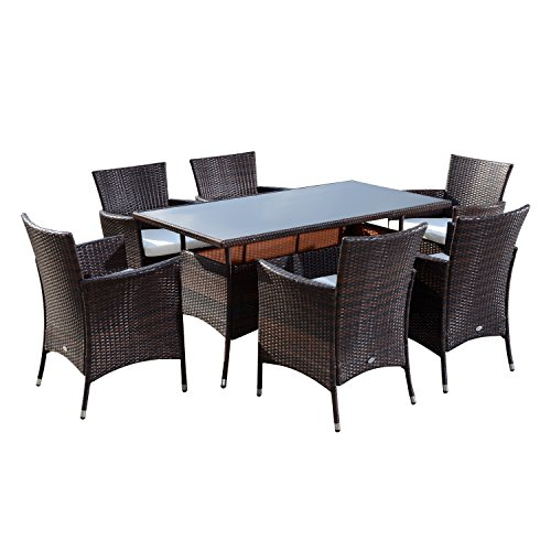 51Iw8T1tWaL. SS500  - Outsunny Rattan Garden Furniture Dining 7 pc Set Patio Rectangular Table 6 Arm Chairs Fire Retardant Sponge Black New
