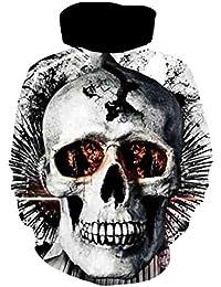 Lenfesh Hombre & Mujer Unisex 3D Cráneo Fullprint Impreso Sudadera con Capucha de Mangas Largas con