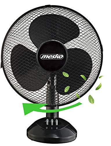 Tischventilator Ø23 cm 25 Watt | Ventilator | Rotation zuschaltbar | oszillierend | leiser Betrieb | Windmaschine | Luftkühler | geeignet für Büro, Schlafzimmer, Wohnzimmer